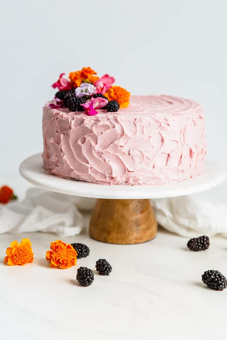 Decadent Chocolate Layer Cake Recipe with Blackberry Buttercream